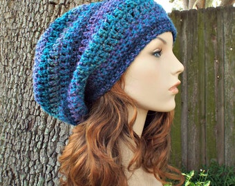 Blue Womens Hat Slouchy Beanie - Weekender Slouchy Hat Caribbean Blue Crochet Hat - Blue Hat Blue Beanie Womens Accessories