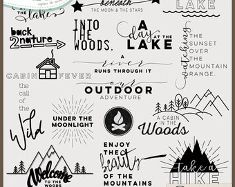 Digital and Printable Overlay Word Art Set - Instant Download - A Cabin in the Woods - Nature - Photography