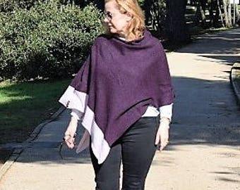 Womans Knit Poncho in Plum with  lilac hem detail.Plus Size Light Knit Cape Coat. Purple Knit wool  Wrap Shawl. Purple Poncho Cape