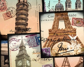 Digital collage sheet World Tour in 2 x 2 inch squares -- Eiffel Tower Paris France Egypt London England Rome Italy -- piddix 987