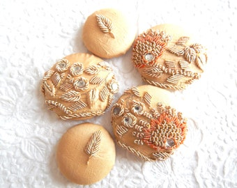 5 gold beaded embroidered silk fabric buttons, use in headbands, make a ring, create a pendant, accent a sweater, 1 7/8 inches, 1.5 inches