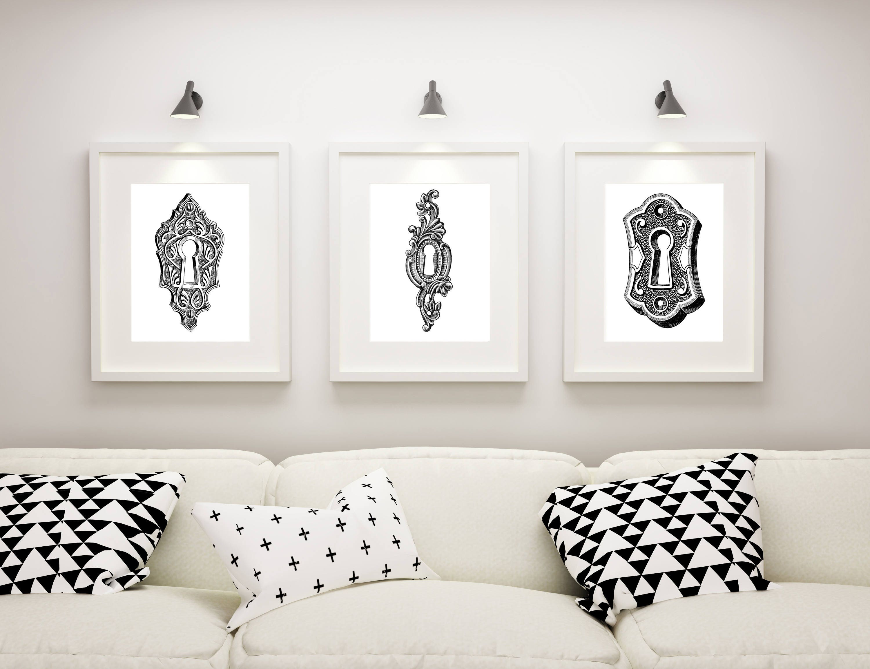 Living Room Wall Art, Master Bedroom Decor, Steampunk Artwork, Bathroom  Wall Art, Home Decor, Keyhole Print Set, Escutcheon Art