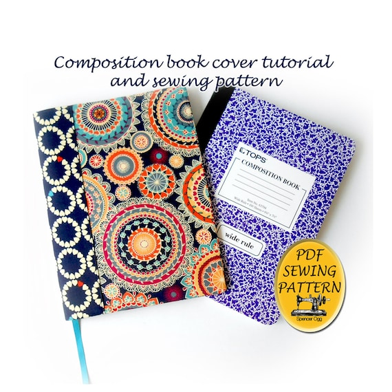 Composition book cover pattern and tutorial. Notebook cover