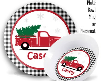 Personalized Kids Plates Christmas Truck Personalized Melamine Plate Set Kids Melamine Dinner Set Plate Bowl  sc 1 st  Etsy & Personalised kids | Etsy