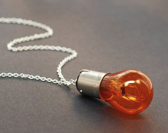 Light Bulb Necklace- Steampunk Jewelry, Orange & Silver Upcycled Industrial Jewelry, Steampunk Necklace, Cyberpunk, Lightbulb Necklace