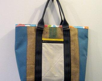 Repurposed Sail Cloth and Burlap Tote Bag, Diaper Bag, Handmade in Maine, USA