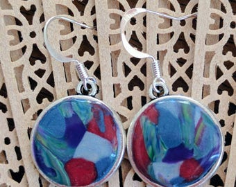Circular, drop earrings, polymer clay, silver bezel, french hooks, red, blue, yellow, green, purple, abstract floral design, gift for her