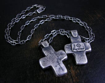 St. Vincent's cross. Primitive sterling silver sand cast cross with a deep rustic patina.