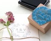 Floral Wedding Stamp, Custom Wedding Stamp, Initial Wedding Stamp, Leaf Wreath Stamp, Flower Wreath Stamp, Wedding Favor Stamp, Wedding Date