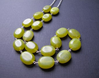 Olive Jade Chunky Necklace, Sterling Silver and Green Necklace