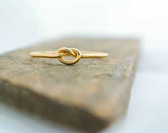 Gold Love Knot Ring 14K Gold Filled Friendship Ring Dainty Tie the Knot Ring Skinny Knot Ring 14K Gold Fill Bridesmaid Ring