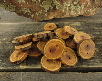 5 wooden buttons- Juniper, handmade buttons (5033)