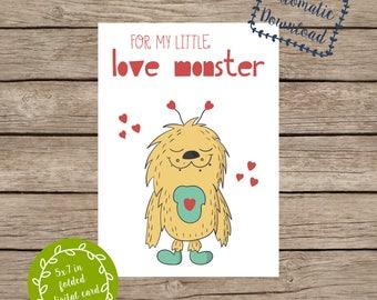 "Digital Love Monster Valentine Kids Valentines Boys Valentines 5x7"" Folded Card PDF and JPG / JPEG"