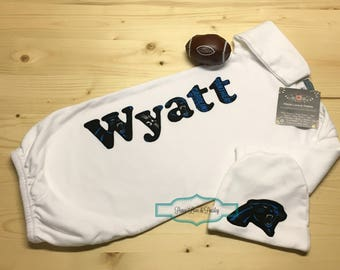 Carolina Panthers Personalized Baby Gown and Hat Set, Panthers Baby, Newborn Gown, Football Baby, NFL Baby, Carolina Panthers Baby Outfit