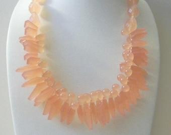ON SALE Vintage MARK By Avon Peach Translucent Chunky Plastic Necklace 62617