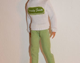Ken doll clothes,ken sweater,ken set,ken jeans,ken doll set,ken clothes handmade,ken fashion clothes,ken green jeans, doll set clothes,