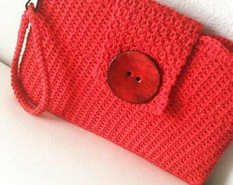 Croshet Red handbag, clutch, women, purse