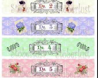 6 Soap label ornaments with ladies, Crown, No 1 - No 6, flower INSTANT DOWNLOAD auf  A 4 -  20 x 4 cm soapwrapper