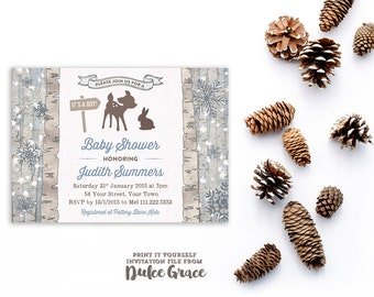 boy woodland baby shower invitations, forest theme baby shower, rustic baby shower invitation boy, cabin baby shower invites, printable, RBB