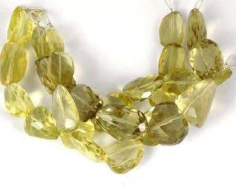 "1 Strand Natural Lemon Quartz Nuggets Beads 14x18-14x30mm Faceted 16"" Long Strand"