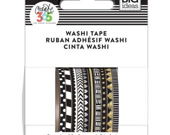 Me and My Big Ideas - The Happy Planner - Mini Washi Tape - 3mm - Set of 10 - Black and White - Skinny Thin Washi