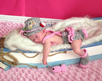 Fishing Fisherman Hat 5 pc Diaper Cover Set w/ Waders, Boots & Fish, Photography Prop - MADE TO ORDER