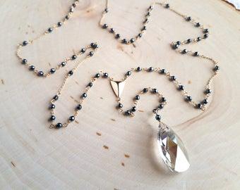 Hematite Rosary with Swarovski Crystal