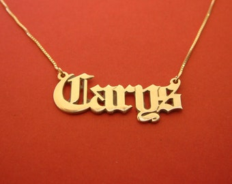 Gothic Name Necklace 14k Gold Gothic Necklace Macabre Name Chain Birthday Gift For Her Old English Nameplate Necklace Gothic Necklace Gold