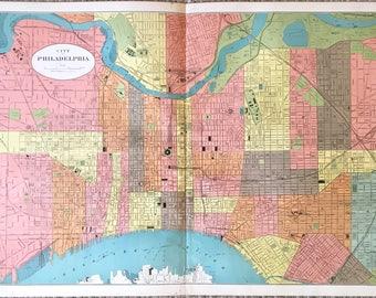 Original map of Philadelphia Pennsylvania from the 1900 State of Pennsylvania Atlas 28x19 1/2