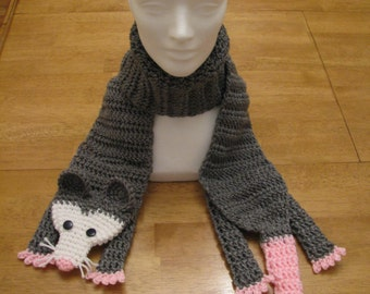 Opossum scarf - crocheted