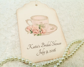 Tea Party Gift and Favor Tags-Wedding Favor Tags-Teacup Bridal FavorTags-Pink Teacup Tags-Set of 12