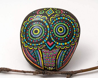 Owl Stone   Owl Decor   Owl Art   Owl Gift   Hand Painted Owl in Blue, Pink and Yellow   Painted Stone Owl   Owl Rock Art   Painted Owl Rock