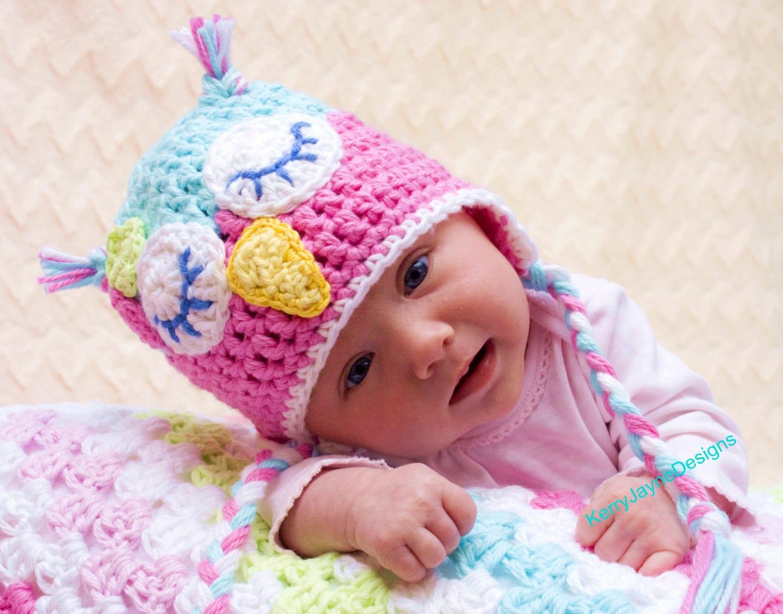 CROCHET OWL HAT Pattern By Kerry Jayne Designs, Baby Owl Hat Pattern ...