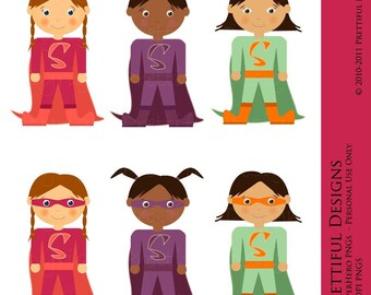 Superhero Girls Clip Art - For Paper Dolls, Birthday Invitations, Scrapbooking, Cards