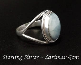 Silver Ring - Gorgeous Rare Larimar Gemstone set in this Fabulous Sterling Silver Ring Size 8 1/2 | Rings for Women, Gemstone Rings 254
