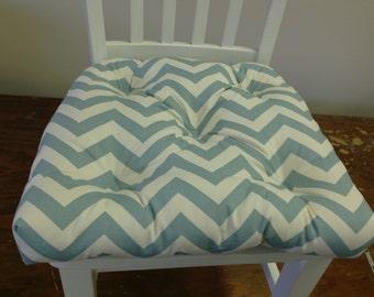 Zig zag chevron chair cushion village blue, robin's egg blue and natural