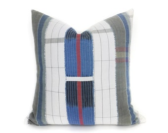 18 x 18 Grey, Indigo and White Striped Pillow - Vintage African Mudcloth, Stripcloth