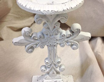 Metal Candleholder Shabby Chic Distressed 10.5 inches