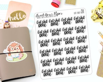 Get Shit Done Planner Stickers - Girl Boss Planner Stickers - Work Planner Stickers - Remidner Planner Stickers - Functional Stickers - 1450