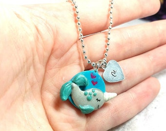 Narwhal jewelry, Narwhal necklace, kawaii narwhal, Personalized girl, Little girl necklace, Initial Necklace, Cute Narwhal, Unicorn whale