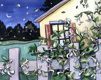 Honeysuckle Nights - 16x12 Original Framed Watercolor
