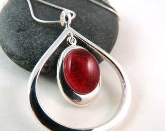 Candy Apple Red Teardrop Necklace - Modern Fused Glass