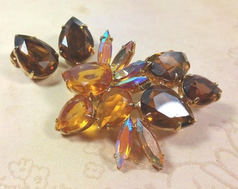 RHINESTONE BROOCH and EARRINGS, Prong Set, Shades of Amber and Topaz Glass, Vintage Costume Jewlery