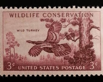 Five (5) vintage unused postage stamps - Wild turkey, wildlife conservation // 3 cent stamps