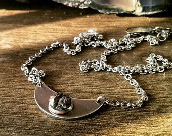 Meteorite Crescent Moon Necklace - The Mimas - Meteorite Jewelry - Meteorite Pendant