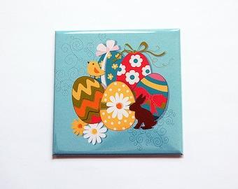 Easter Magnet, Brightly colored easter eggs, Kitchen Magnet, Fridge magnet, Large Square Magnet, Easter egg magnet, Easter gift (7111)
