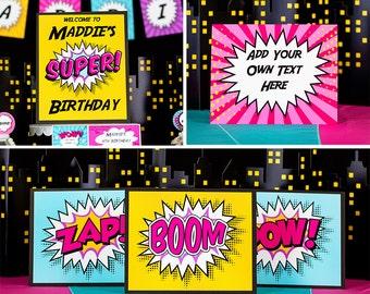 Girls Superhero Party Signs - Printable Superhero Party Signs by Printable Studio