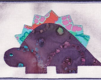 Dinosaur Quilted Fabric Postcard