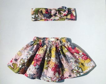 Skirt and headband in liberty cotton together. Different sizes available. French manufacturing