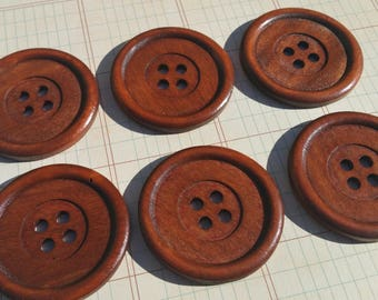 "Large Wood Buttons - Big Wooden Sewing Button - Inner Rim - 1 15/16"" Wide - Medium Color - Style 101"